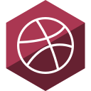 dribbble, gloss, hexagon, media, social icon