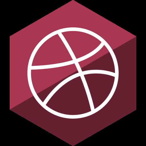 dribbble, gloss, hexagon, media, social icon
