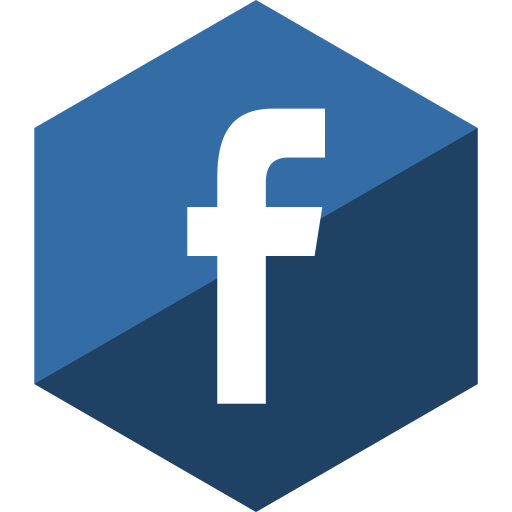 facebook, gloss, hexagon, media, social icon