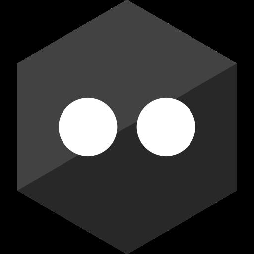 flickr, gloss, hexagon, media, social icon