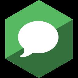 gloss, hexagon, imessage, media, social icon