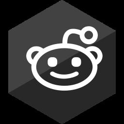 gloss, hexagon, media, reddit, social icon