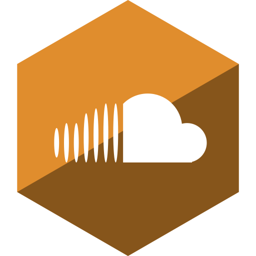 cloud, gloss, hexagon, media, social, sound icon