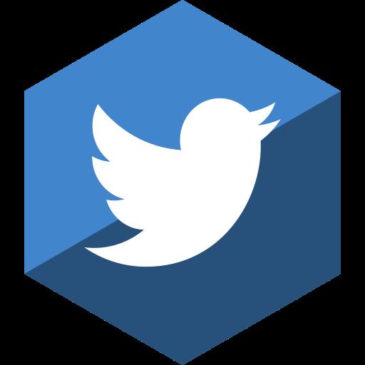 gloss, hexagon, media, social, twitter icon