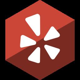 gloss, hexagon, media, social, yelp icon