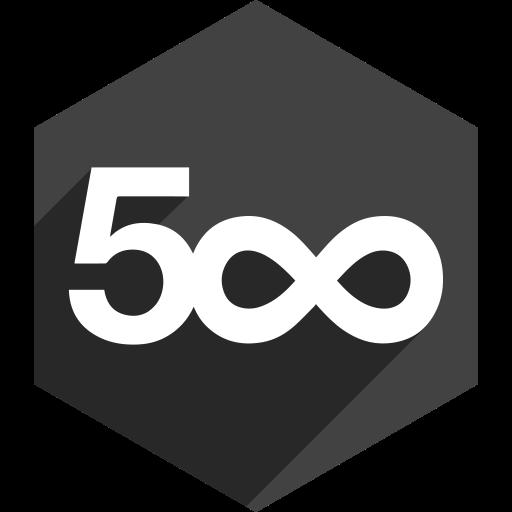 500, hexagon, media, pixel, shadow, social icon