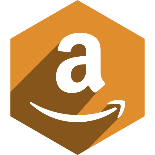 amazon, hexagon, media, shadow, social icon
