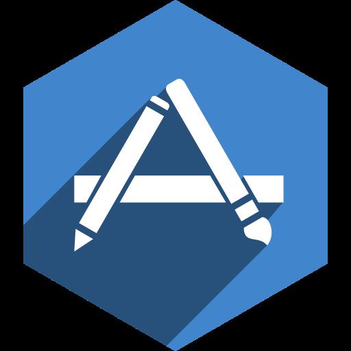 app, hexagon, media, shadow, social, store icon