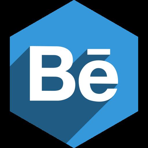 behance, hexagon, media, shadow, social icon