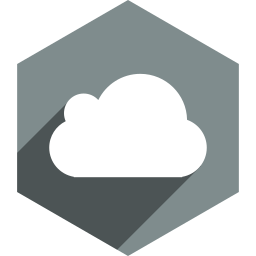 cloud, hexagon, media, shadow, social icon