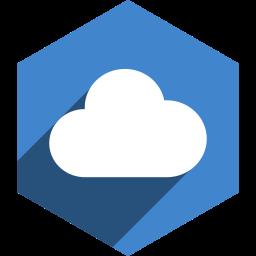 cloudapp, hexagon, media, shadow, social icon