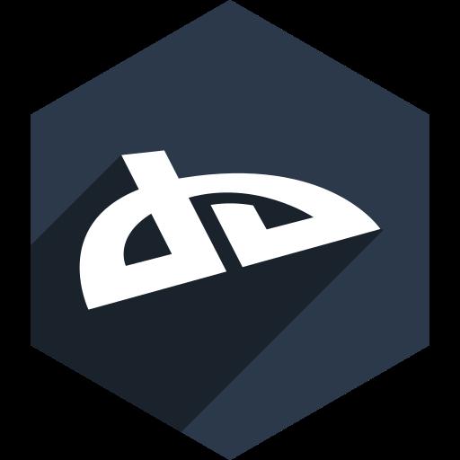 deviantart, hexagon, media, shadow, social icon