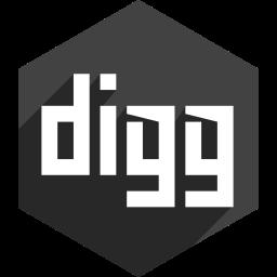 digg, hexagon, media, shadow, social icon
