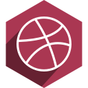dribbble, hexagon, media, shadow, social icon