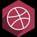dribbble, hexagon, media, shadow, social icon