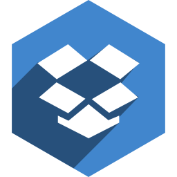 dropbox, hexagon, media, shadow, social icon