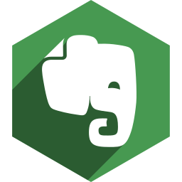evernote, hexagon, media, shadow, social icon