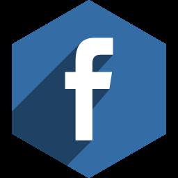 facebook, hexagon, media, shadow, social icon