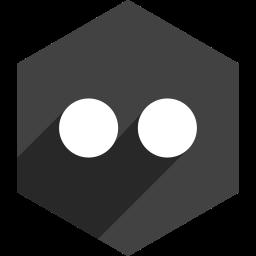 flickr, hexagon, media, shadow, social icon