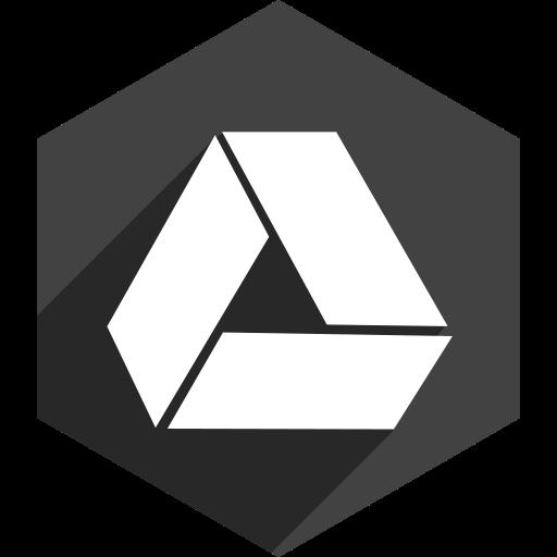 drive, google, hexagon, media, shadow, social icon