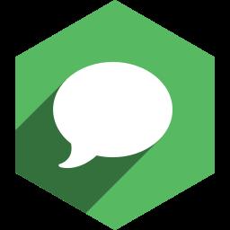 hexagon, imessage, media, shadow, social icon