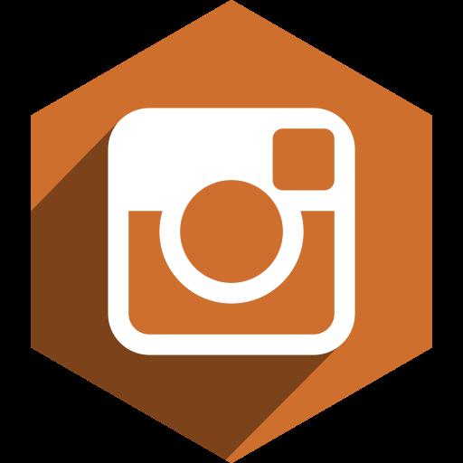hexagon, instagram, media, shadow, social icon