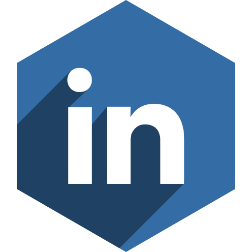 hexagon, linkedin, media, shadow, social icon