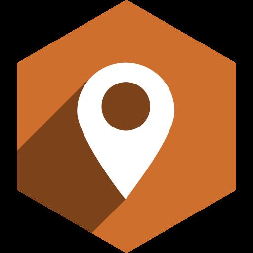 hexagon, location, media, shadow, social icon