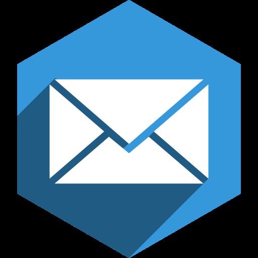 hexagon, mail, media, shadow, social icon