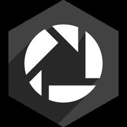 hexagon, media, picasa, shadow, social icon