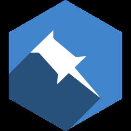 hexagon, media, pinboard, shadow, social icon