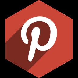 hexagon, media, pinterest, shadow, social icon