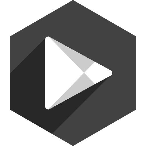 hexagon, media, play, shadow, social, store icon