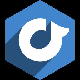 hexagon, media, rdio, shadow, social icon