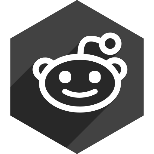 hexagon, media, reddit, shadow, social icon