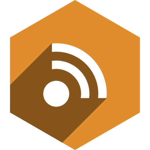 hexagon, media, rss, shadow, social icon