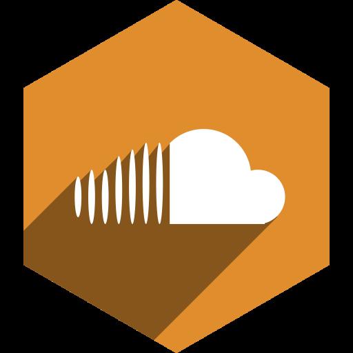cloud, hexagon, media, shadow, social, sound icon