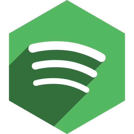 hexagon, media, shadow, social, spotify icon