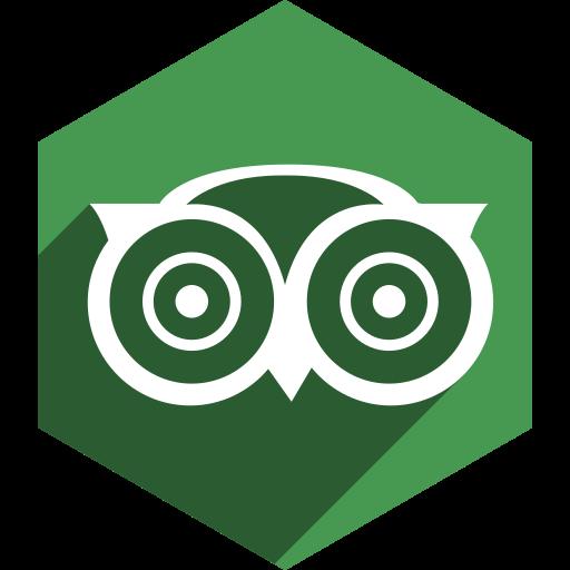 advisor, hexagon, media, shadow, social, trip icon