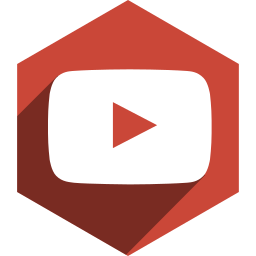 hexagon, media, shadow, social, youtube icon