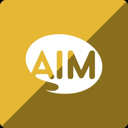 aim, gloss, media, social, square icon
