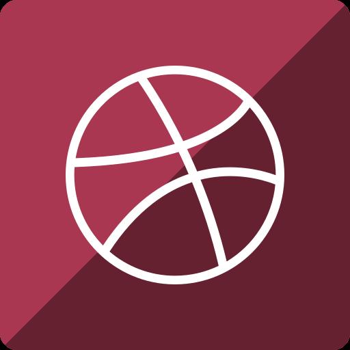 dribbble, gloss, media, social, square icon