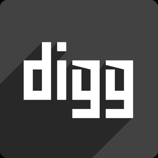 digg, media, shadow, social, square icon