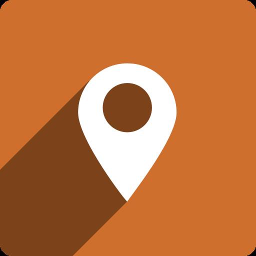 location, media, shadow, social, square icon