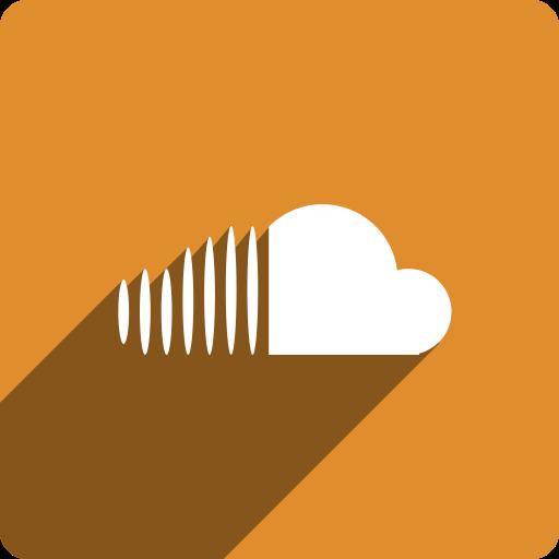 cloud, media, shadow, social, sound, square icon