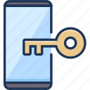 lock, protection, smartphone icon