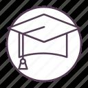 academia, cap, education, graduate, graduation icon icon