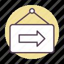 arrow, board, left, location, tag icon icon