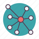 atoms, communication, connection, molecule, network, social, source icon icon