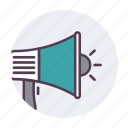 bullhorn, loud, megaphone, speaker icon icon